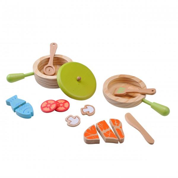 Topf- und Pfannenset für Kinder aus Holz