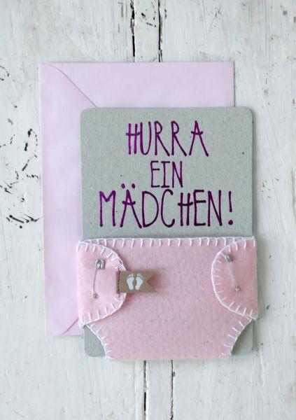 """Grußkarte """"Windel - Hurra ein Mädchen"""""""