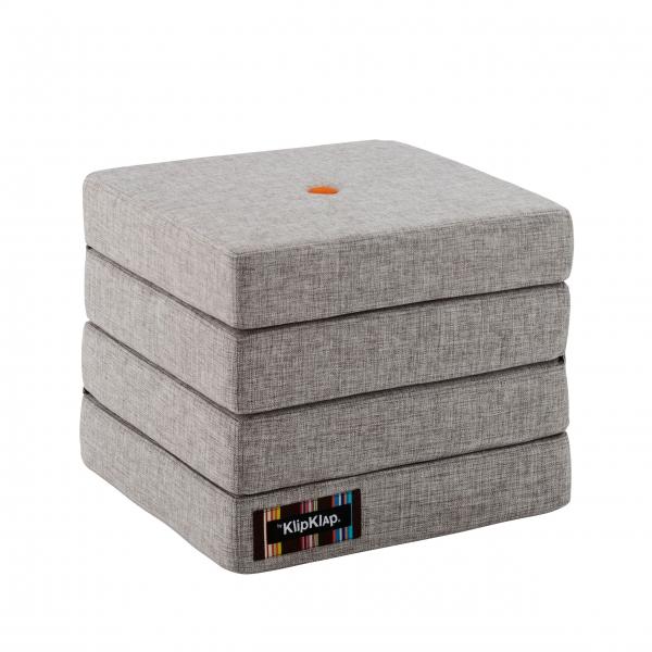 "Multifunktionaler Pouf ""KK 4 Fold"" - Multi Grey / Orange"