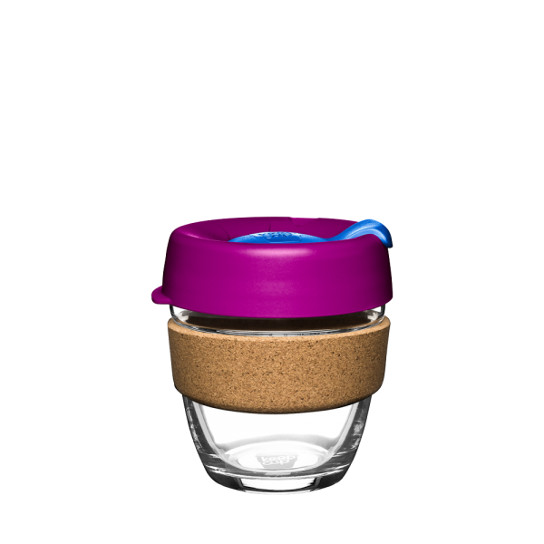 "Coffee-to-go Becher ""Cork - Daylily"" - 227ml, Glas mit Korkband"
