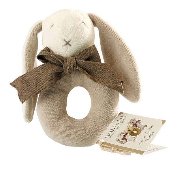 Baby-Ringrassel Hase 'Ears' - grau