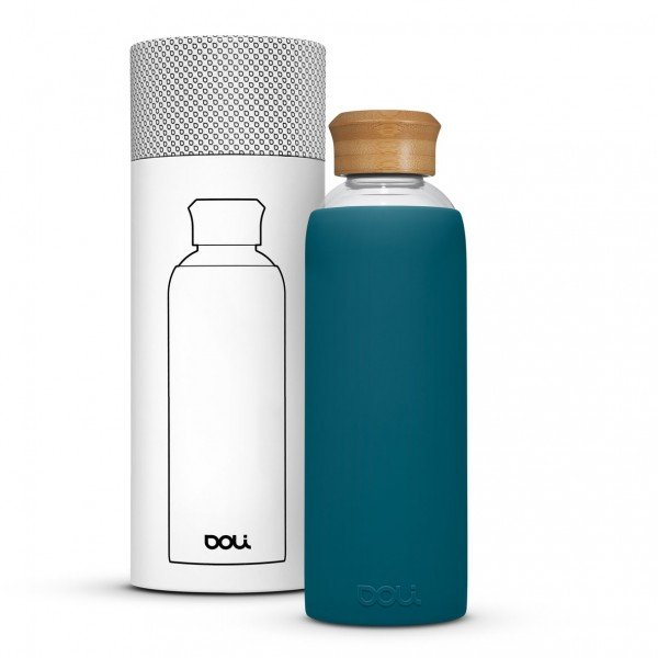 Trinkflasche 550ml Glas - Bamboo Teal