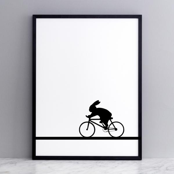 Bild 'Racing Bike Rabbit' 30x40 cm