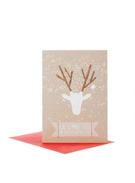 """Weihnachtskarte """"Geweih"""""""
