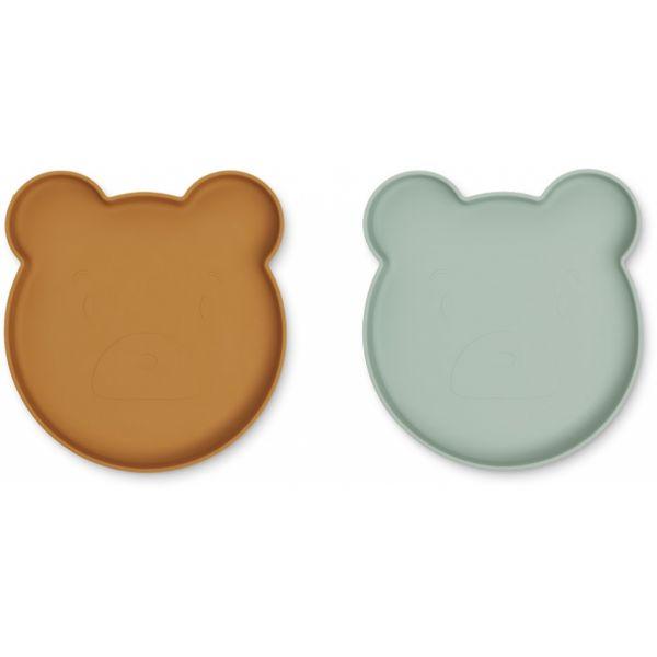 "Kinder-Teller aus Silikon ""Marty - Mr Bear mustard-peppermint mix"" - 2er Set"