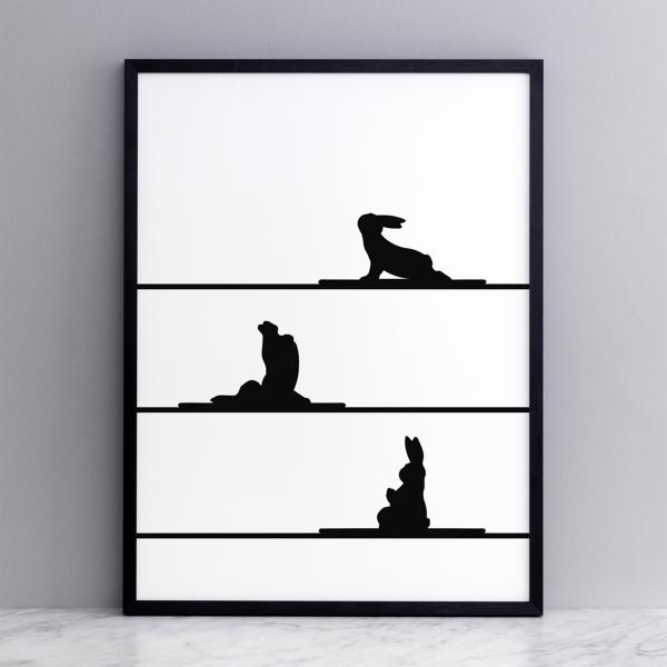Bild 'Yoga Rabbit' 30x40 cm