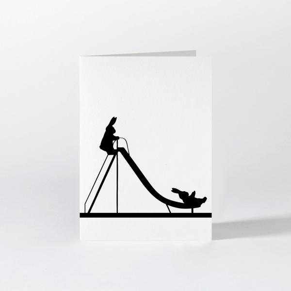 Grußkarte 'Sliding Rabbit'