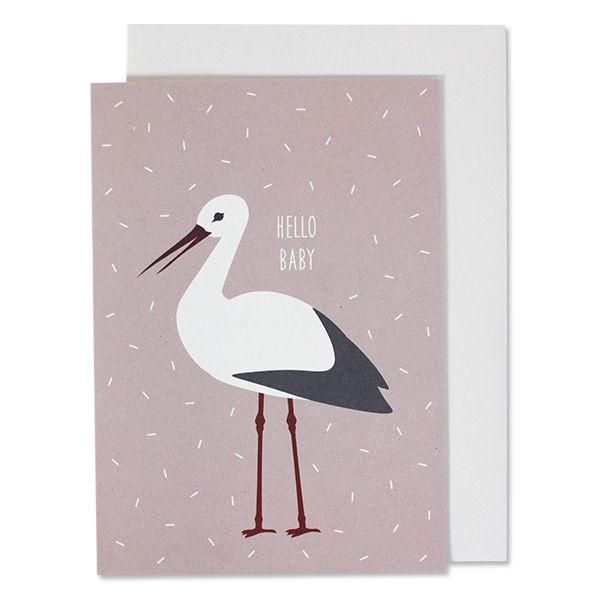 "Grußkarte ""Hello Baby"" Storch, rosa"