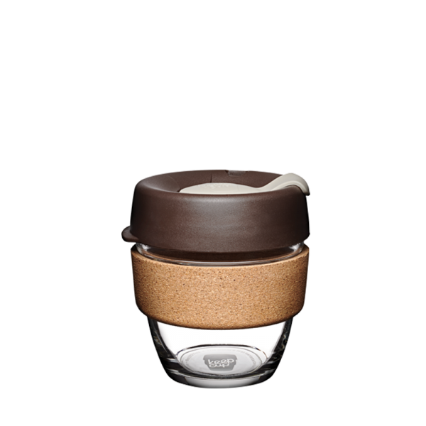 Coffee-to-go Becher 'Cork - Almond' - 227ml, Glas mit Korkband