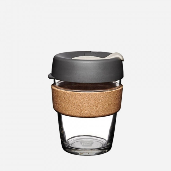 "Coffee-to-go Becher ""Cork - Press"" - 340ml, Glas mit Korkband"
