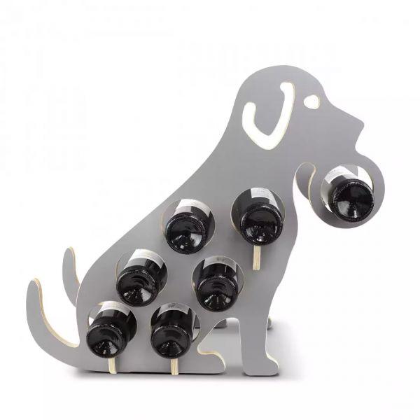Weinregal Holz grau - Hund