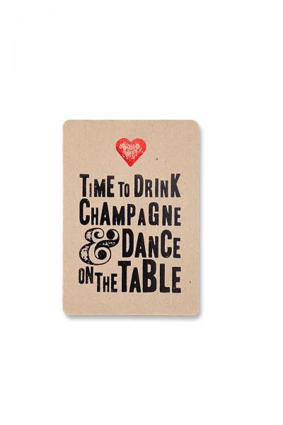 """Postkarte """"Time to drink champagne"""""""