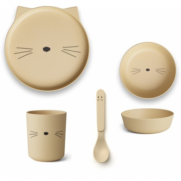 Kinder-Geschirrset 'Bamboo box - Cat Smoothie Yellow'