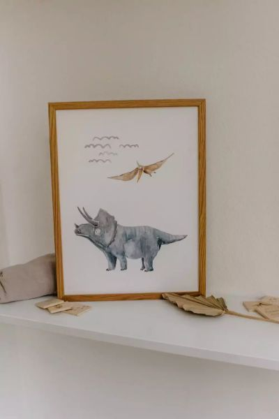 """Poster """"Dino Triceratops"""" Aquarell Print DIN A3"""