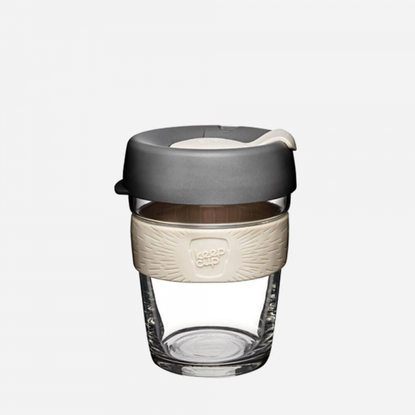 Coffee-to-go Becher 'Brew - Chai' - 340ml, Glas mit Silikonband