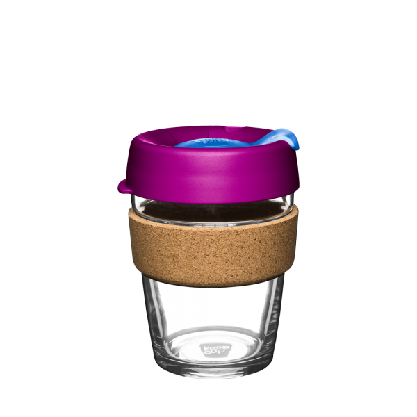 Coffee-to-go Becher 'Cork - Daylily' - 340ml, Glas mit Korkband