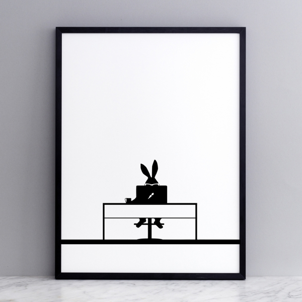 Bild 'Working Rabbit' 30x40 cm