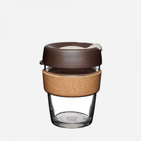 Coffee-to-go Becher 'Cork - Almond' - 340ml, Glas mit Korkband